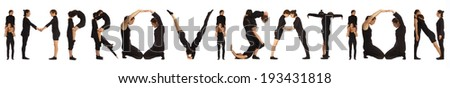 Black dressed people forming IMPROVISATION word over white - stock photo