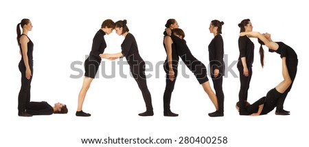 Black dressed people forming LAND word over white - stock photo