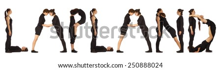Black dressed people forming LAPLAND word over white - stock photo