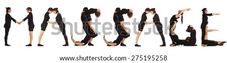Black dressed people forming MASSAGE word over white - stock photo