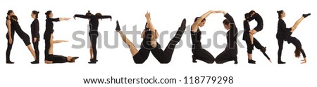 Black dressed people forming NETWORK word over white background