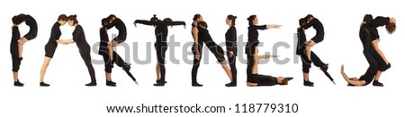 Black dressed people forming PARTNERS word over white background