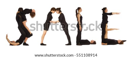 Black dressed people forming SALE word over white