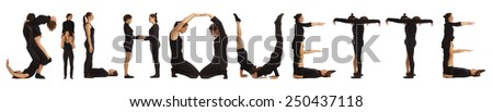 Black dressed people forming SILHOUETTE word over white - stock photo