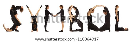 Black dressed people forming SYMBOL word over white