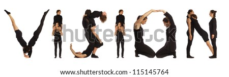 Black dressed people forming VISION word over white background
