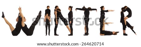 Black dressed people forming WINTER word over white - stock photo