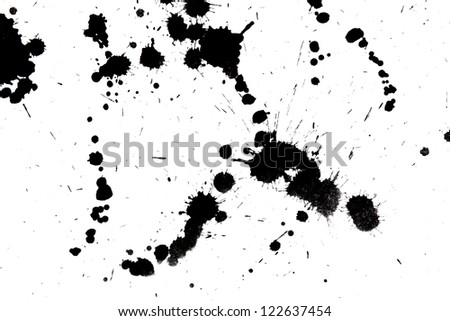 Black drop ink splatter. Gloss brush paint spot, grunge blot, art blob, oil, abstract droplet. Splat, liquid illustration. - stock photo