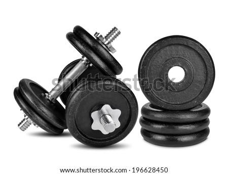 Black dumbbell isolated on white - stock photo