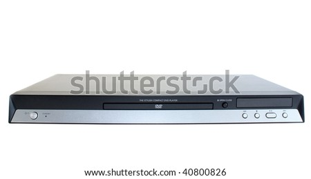 Black dvd player on a white background, it is isolated