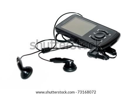 Black earphones in white background - stock photo