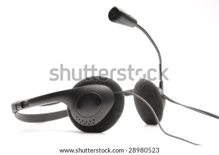Black earphones isolated on white