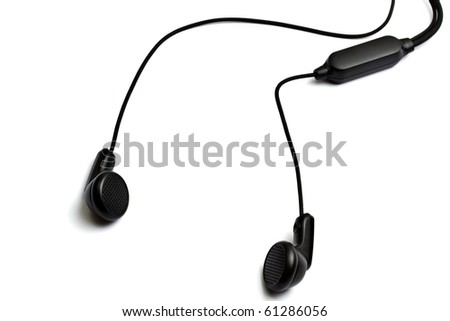 Black earphones isolated on white background