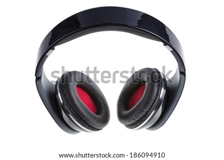 Black earphones with black and red padding, isolated on white