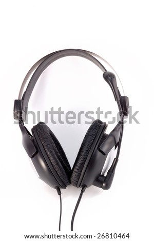 black earpiecess with a microphone on a white background