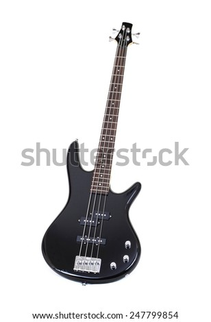 Black Electric Bass Guitar Isolated on White - stock photo