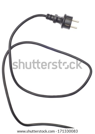 Black electric cable isolated on white