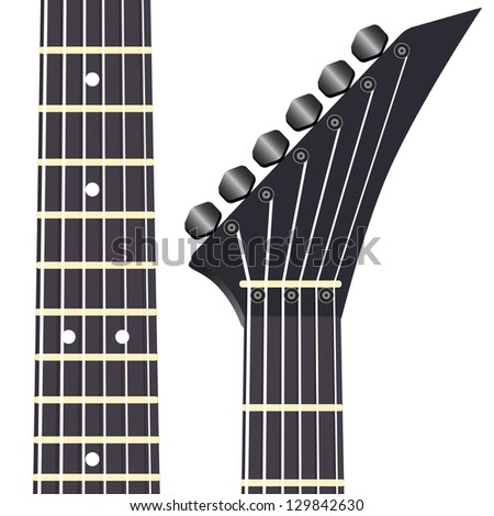 Black electric guitar on a white background - stock photo