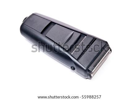 Black electric razor isolated on white background - stock photo