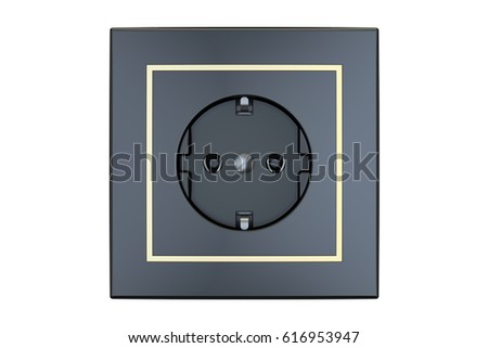 black electrical outlet, 3D rendering isolated on white background
