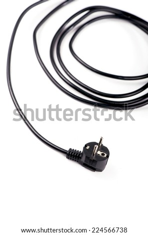 Black electrical plug and electrical cord isolated on white background