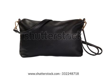 black elegant female shoulder bag isolated on white - stock photo