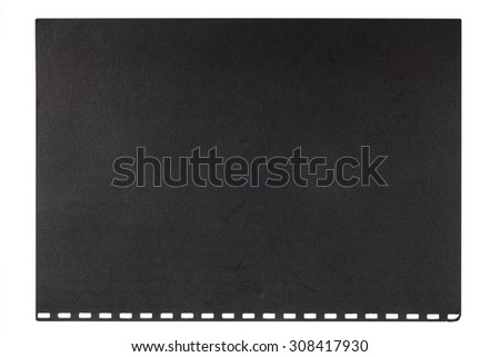 Black embossed cardboard sheet torn from a notebook, isolated on a white background - stock photo