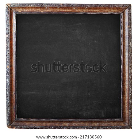 Black Empty Chalkboard, Vintage Wooden Frame with Floral Ornament, isolated on white
