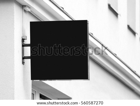 Black empty outdoor business signage mock up to add company logo