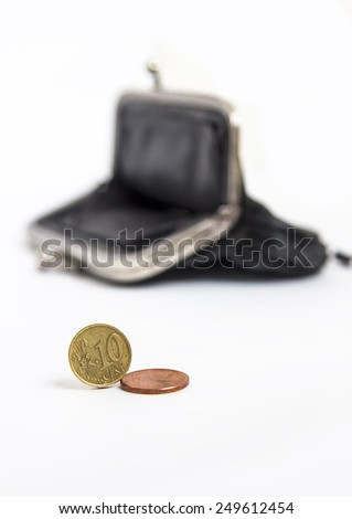 black empty wallet with  Euro coins isolated on white background