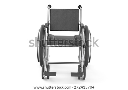 black empty wheelchair  isolated on white background - front view - stock photo