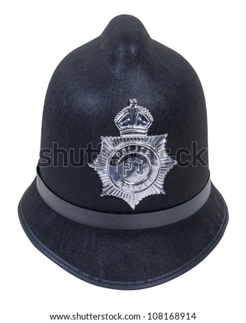 Black English Bobby policeman hat with badge - path included - stock photo
