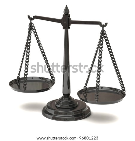 Black equal scales 3d - justice and law symbol