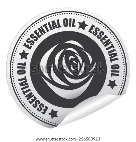 Black Essential Oil Sticker, Icon or Label Isolated on White Background