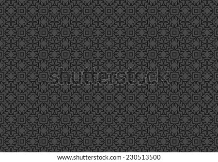 Black Ethnic pattern. Abstract kaleidoscope fabric design.