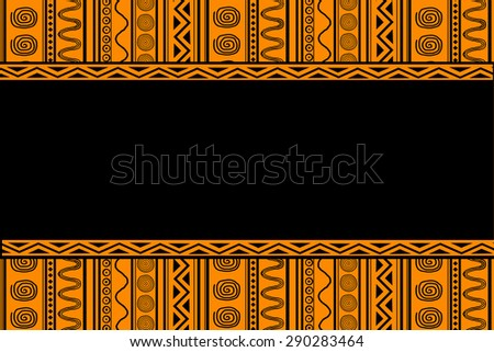 black ethnic patterns on an orange background with copy space