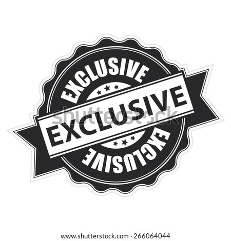Black Exclusive Ribbon, Badge, Label, Sticker, Banner, Sign or Icon Isolated on White Background - stock photo