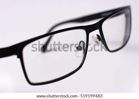 Black Eye Glasses Close Up Isolated on White