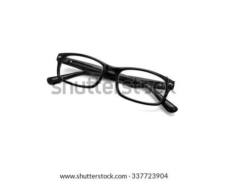 Black Eye Glasses Isolated on White - stock photo
