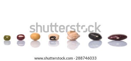 Black eye peas, mung bean, adzuki beans, soy beans, black beans and red kidney beans on white background