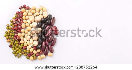 Black eye peas, mung bean, adzuki beans, soy beans, black beans and red kidney beans on white background - stock photo