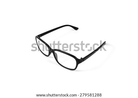 Black eye plastic glasses isolated on white background - stock photo