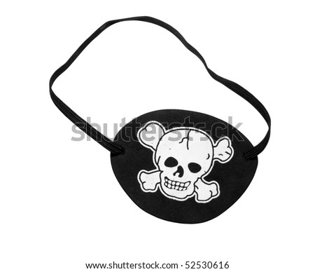 Black eyepatch as used by pirates, isolated on background