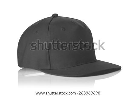 Black fabric cap isolated on a white background. - stock photo