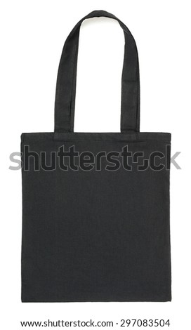 Black fabric eco bag isolated on white background