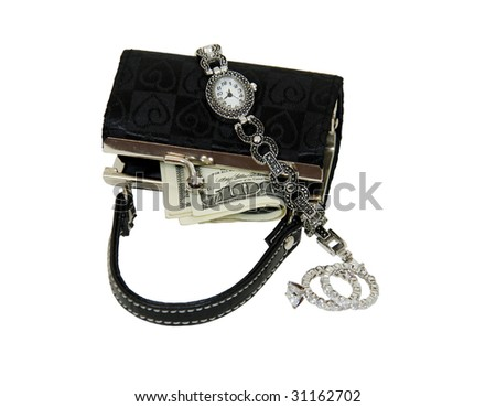 Black fabric purse used to hold items such as money, watch and diamond jewelry - path included