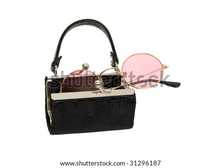 Black fabric purse with silver ball clasp used to hold rose colored glasses - path included