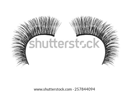 Black false eyelash isolated on white background - stock photo