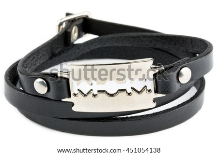 Black fashion leather bracelet isolated