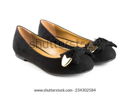black fashion velvet woman shoes isolated on white background - stock photo